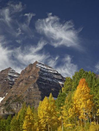 Maroon Bells with Fall Color, White River National Forest, Colorado by James Hager