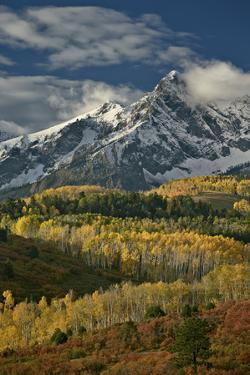 Mears Peak with Snow and Yellow Aspens in the Fall by James Hager