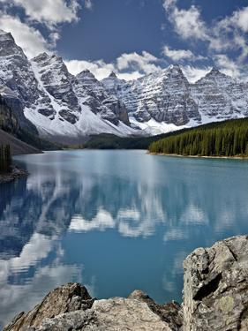 Moraine Lake in the Fall with Fresh Snow, Banff National Park, UNESCO World Heritage Site, Alberta, by James Hager