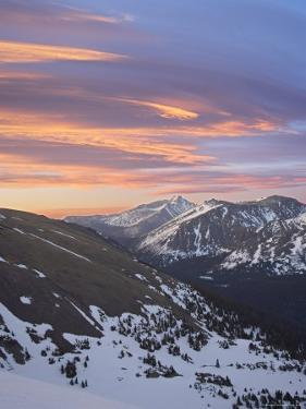 Orange Clouds at Dawn Above Longs Peak, Rocky Mountain National Park, Colorado by James Hager