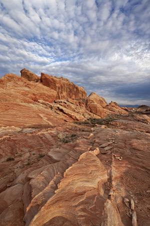 Sandstone Formation with Clouds, Valley of Fire State Park, Nevada, Usa by James Hager