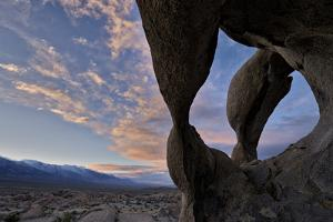 Sunset Through Cyclops' Skull Arch, Alabama Hills, Inyo National Forest by James Hager