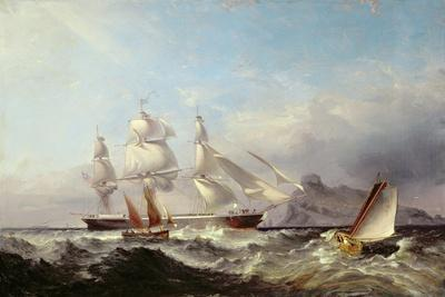 A Clipper Ship Off the Mumbles Lighthouse, Swansea