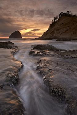 Haystack Rock at Sunset, Pacific City, Oregon, United States of America, North America by James