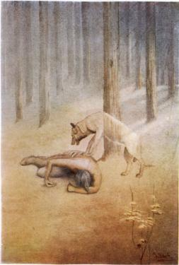 """Young Indian Encounters His Totem Spirit """"Utonagan"""" in the Form of a She-Wolf by James Jack"""