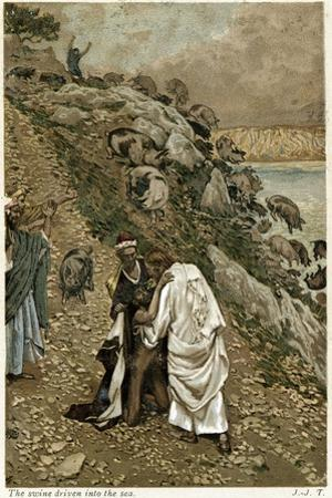 Jesus Casting Devils Out of a Kneeling Man, C1890 by James Jacques Joseph Tissot