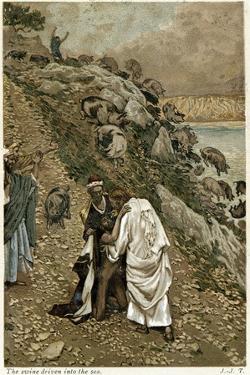 Jesus Casting Devils Out of a Kneeling Man, C1890 by James Jacques Joseph Tissot