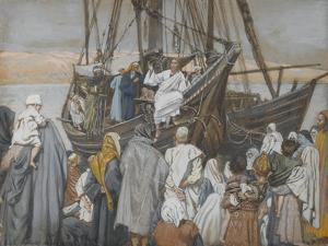 Jesus Preaches in a Ship from 'The Life of Our Lord Jesus Christ' by James Jacques Joseph Tissot