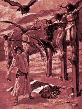 Rizpah 's kindness toward the dead -Bible by James Jacques Joseph Tissot