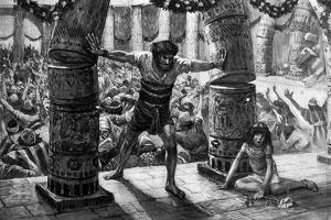 Samson puts down the pillars', by Tissot -Bible by James Jacques Joseph Tissot