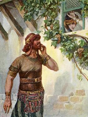 Samson sees Delilah at her window - Bible by James Jacques Joseph Tissot