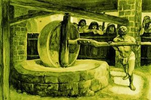 'Samson turns the mill in prison' - Bible by James Jacques Joseph Tissot
