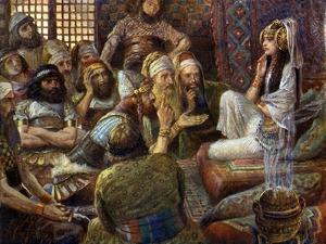 The Philistines visit Delilah - Bible by James Jacques Joseph Tissot