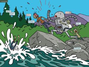 Zombies vs. Robots: No. 7 - Page Spread by James Kochalka