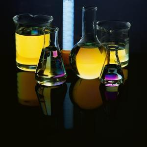 Laboratory Flasks and Beakers Filled with Liquid by James L. Amos