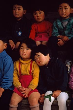 Futagami Jima Island, Japan. Japanese Children Listening Intently at Story Hour in Kindergarten