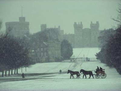 Prince Philip of England Drives a Coach Toward Toward the Long Walk, Windsor Castle, England