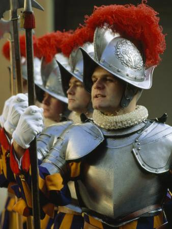 Swiss Guards Standing at Attention, Vatican City