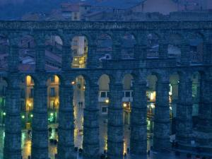 Twilight View of the Roman Aqueduct in Segovia by James L. Stanfield