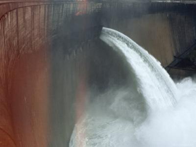 Water Pours over the Kariba Dam, Zimbabwe