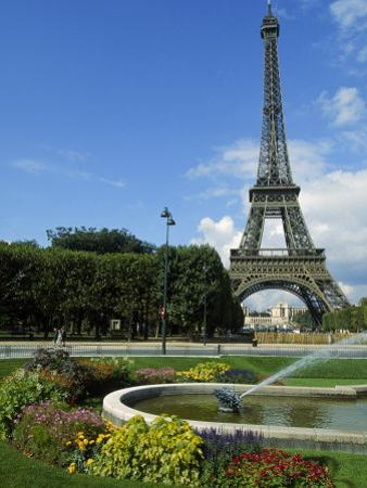 Eiffel Tower, Flowers and Fountain, Paris, France