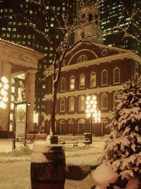 Faneuil Hall at Christmas with Snow, Boston, MA by James Lemass