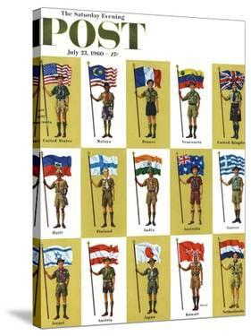 """""""International Boy Scouts,"""" Saturday Evening Post Cover, July 23, 1960 by James Lewicki"""