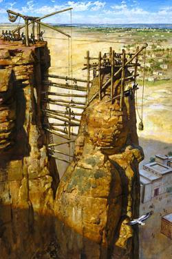 A Painting Depicts the Ancient Kushites Using Scaffolding by James M. Gurney