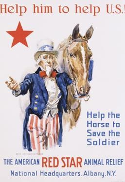 Help Him to Help U.S.! Poster by James Montgomery Flagg