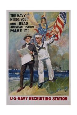 The Navy Needs You! U.S. Navy Recruiting Station Poster by James Montgomery Flagg