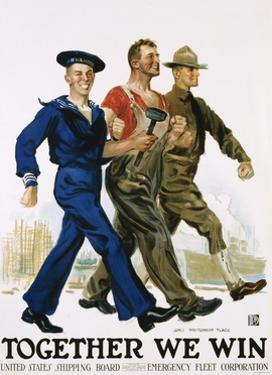 Together We Win Poster by James Montgomery Flagg