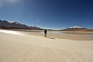At the Edge of a Salt Lake High in the Bolivian Andes, Bolivia, South America by James Morgan