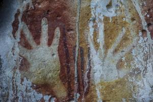 Monolithic Cave Paintings in Raja Ampat, West Papua, Indonesia, New Guinea, Southeast Asia, Asia by James Morgan
