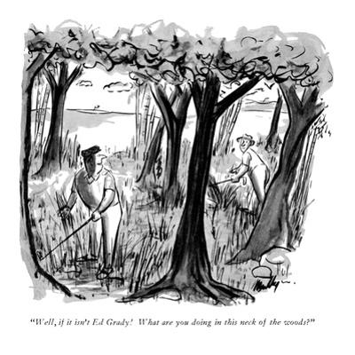 """Well, if it isn't Ed Grady!  What are you doing in this neck of the woods…"" - New Yorker Cartoon by James Mulligan"