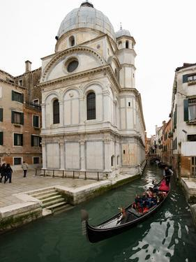 A Gondola Passing the Santa Maria Dei Miracoli Church by James P. Blair
