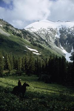 A Horseback Rider Admires Ruth Mountain from a Field of Wildflowers by James P. Blair