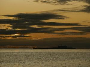 Silhouetted Russian Submarine in the White Sea by James P. Blair