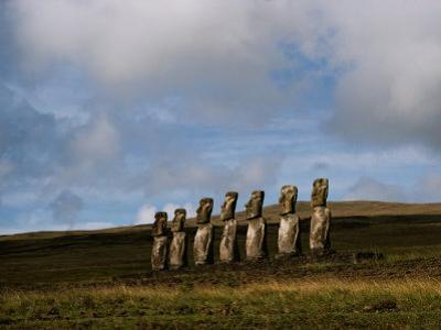 Stone Statues Called Moai Dot the Landscape of Easter Island by James P. Blair