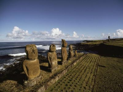 Volcanic Rock Statues, Called Moai, Stand in a Row on Ahu Akivi