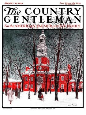"""""""Indenpendence Hall in Winter,"""" Country Gentleman Cover, January 20, 1923 by James Preston"""