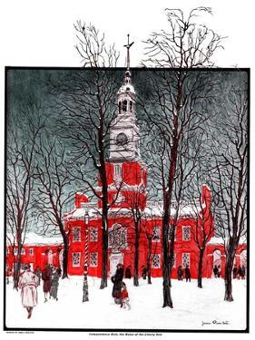"""""""Indenpendence Hall in Winter,""""January 20, 1923 by James Preston"""