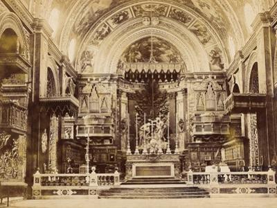 Interior of St John's Co-Cathedral in Valetta, Malta, 1850