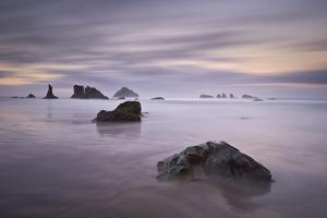 Rocks and Sea Stacks at Dawn, Bandon Beach, Oregon, United States of America, North America by James