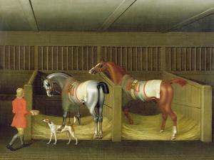 The Stables and Two Famous Running Horses Belonging to His Grace, the Duke of Bolton, 1747 by James Seymour