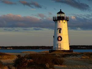 Edgartown Lighthouse at Christmas on Martha's Vineyard at Sunset by James Shive