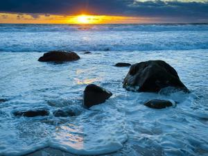 Sunset at Beach on Martha's Vineyard During Winter by James Shive