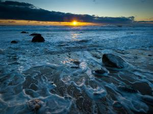 Sunset at Beach with Waves Breaking on Shoreline, Martha's Vineyard by James Shive