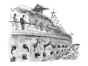 A passenger on a pleasure cruise looks down and sees animals popping their? - New Yorker Cartoon by James Stevenson