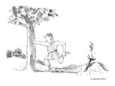 Ancient Greek runner, with Olympic torch, pauses to stretch his leg muscle… - New Yorker Cartoon by James Stevenson