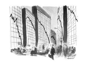 Businessman sees graphs of diving stocks & other financial indicators on t? - New Yorker Cartoon by James Stevenson